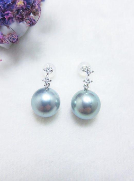 10.4-10.5mm 南洋黑珍珠耳環【元圓珠寶】