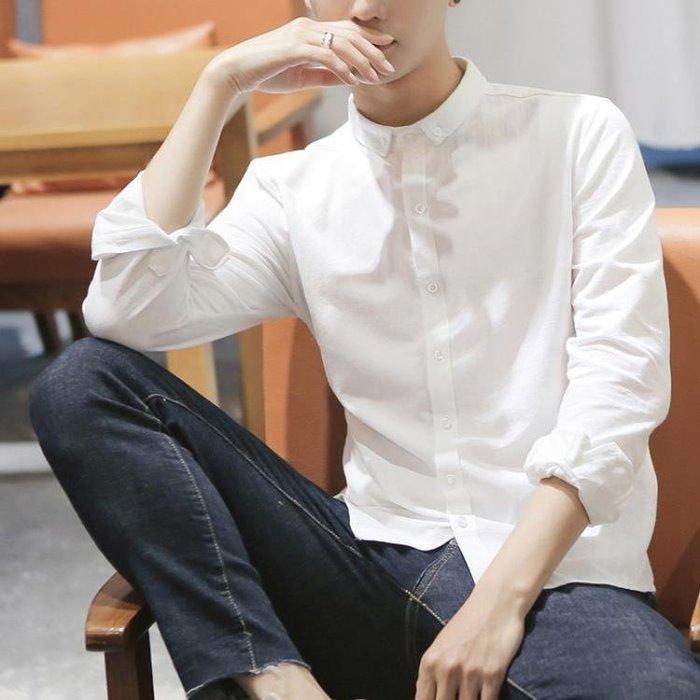長袖襯衫 襯衫男長袖春秋季韓版潮流修身學生帥氣小領白色襯衣男士寸衫