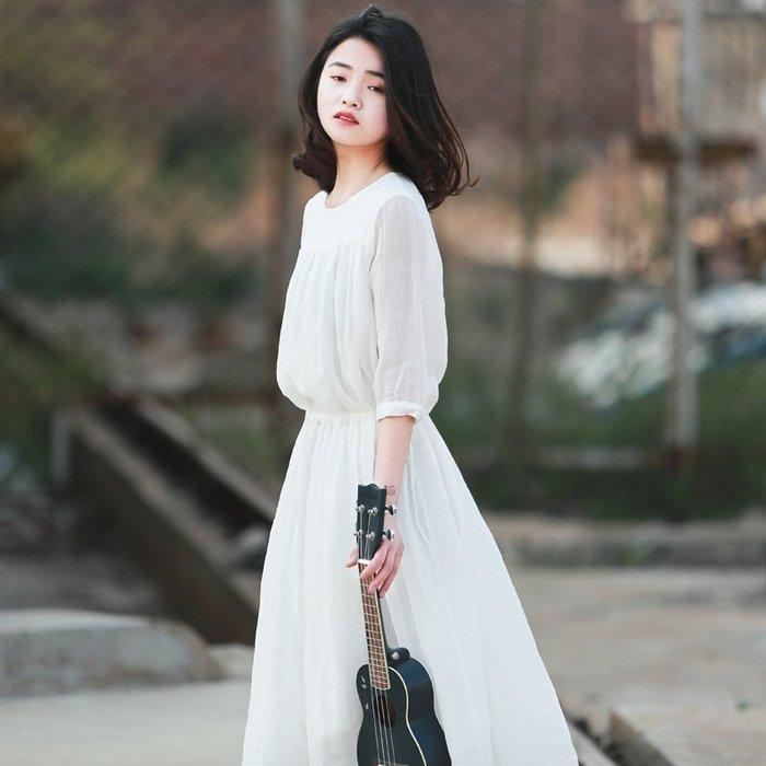 【鈷藍家】棉麻臆想 原創夏季新品雨季白色壓皺褶高支苧麻連身裙中袖收腰仙女裙