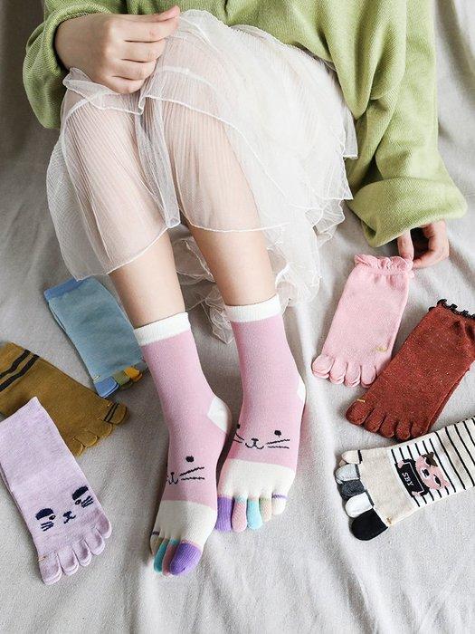 解憂zakka~秋冬五指襪女純棉長厚款中筒彩指可愛卡通吸汗保暖分腳趾5雙