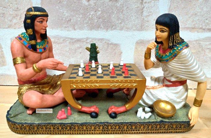 點點蘑菇屋 歐洲精品埃及國王與王后下棋擺飾(二) 埃及法老王與埃及豔后 埃及古文圖騰飾品 藝術品 現貨 免運費