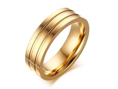 《316小舖》【C400】(優質精鋼戒指-金色雙軌鋼戒-單件價 /鈦鋼戒指/生日禮物/情人節禮物/耶誕節禮物)