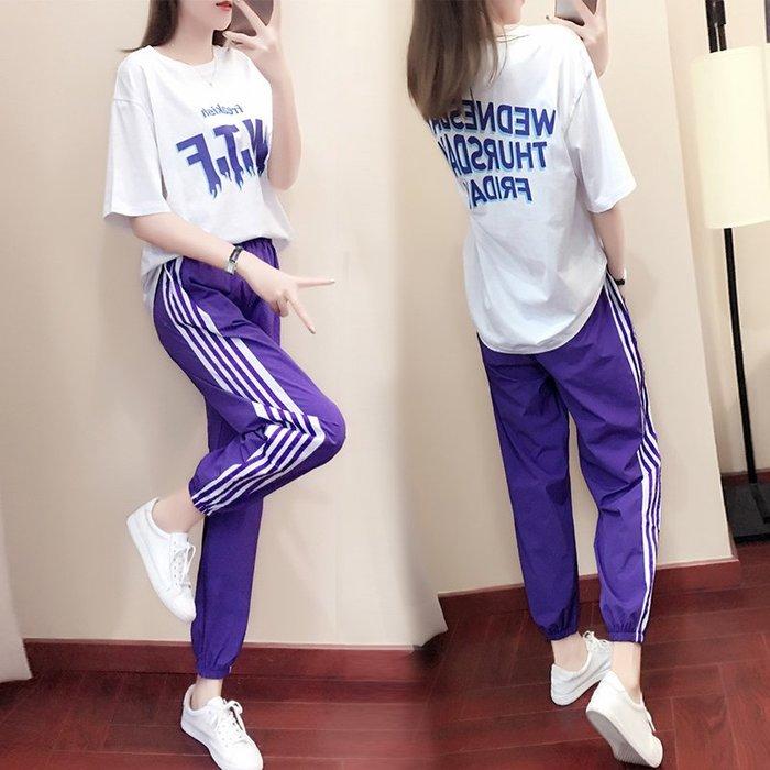 運動休閒套裝女夏天2019新款寬鬆韓版學生嘻哈洋氣時尚兩件套酷潮