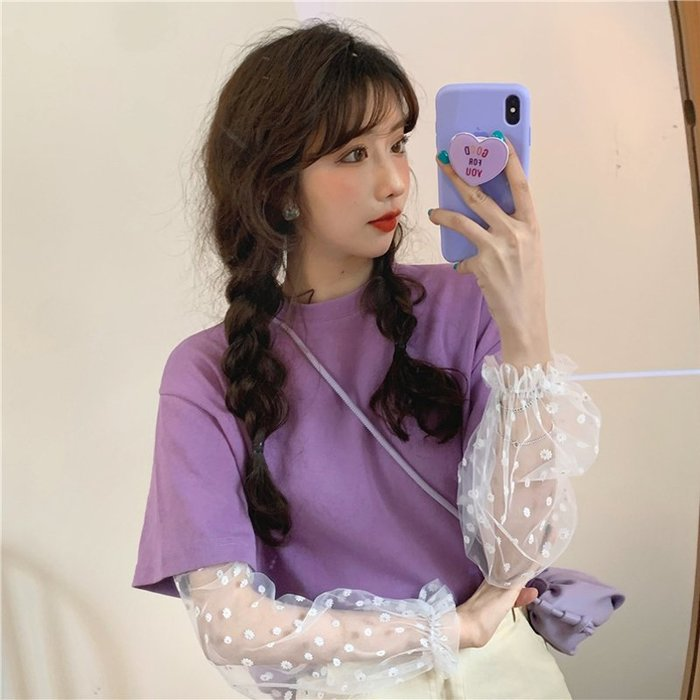 小香風 短袖T恤 時尚穿搭 韓版 設計感小雛菊網紗很仙的寬松短袖T恤上衣女學生