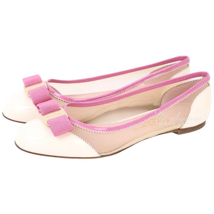 米蘭廣場 Salvatore Ferragamo Varina Net 拼接漆皮透膚娃娃鞋(粉白色)1720250-03