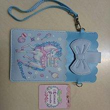 公主風淺藍底獨角白馬手機袋手拎包 可愛風粉色系裸裝女用手拎手機包 糖果魔法棒鏡子梳子星星水晶圖案櫻環