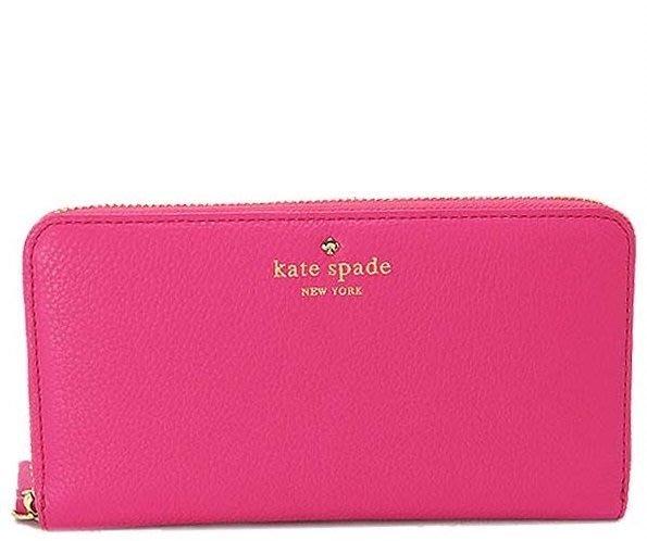 大特價! KATE SPADE 美國帶回! 全新正品 經典 粉色 / 桃紅色 長夾 皮夾 拉鍊 多卡