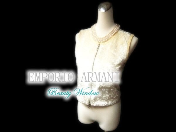 *Beauty*EMPORIO ARMANI米白色細絨背心 二手衣已送洗ZMS