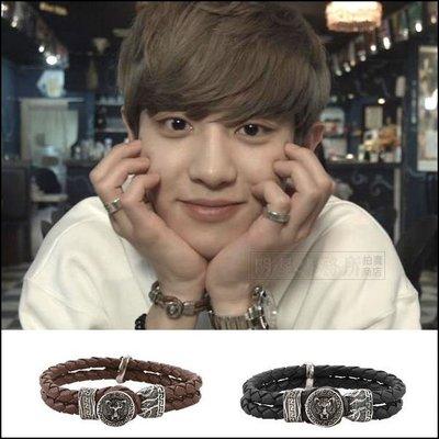 K-POP Market。韓國進口ASMAMA官方正品 EXO 朴燦烈 Chanyeol 同款復古豹圈勾釦皮革手環