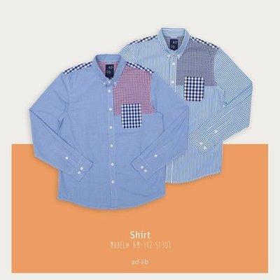 【YOYOGI PLUS】ADLIB - 格紋口袋拼接衫 (藍紅/深藍黑)