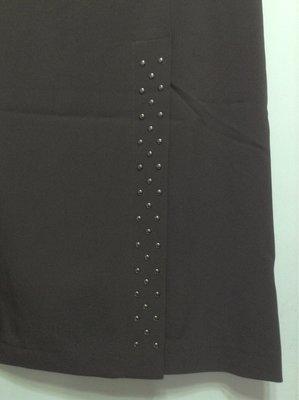 OGIRL 歐德咖啡色造型左前開叉及膝裙  11號