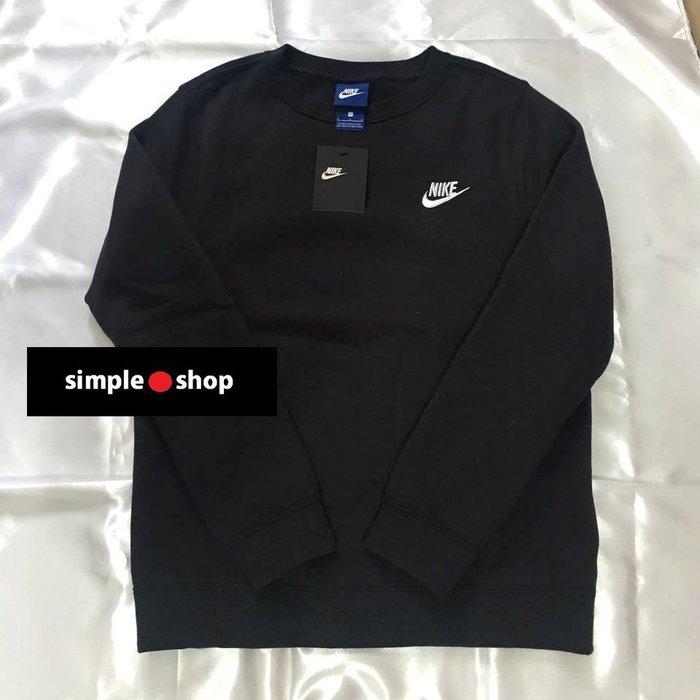 【Simple Shop】現貨 日本限定 NIKE 針織 黑 灰色 素面長繡 大學衛衣 青年款 女生可穿 679163