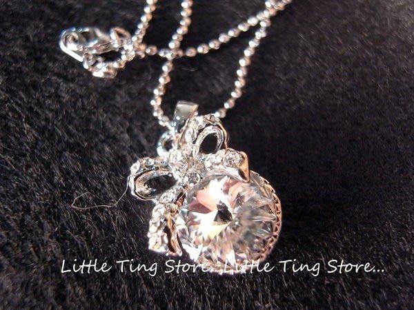 Little Ting Store:韓國婚禮晚宴大水鑽白鑽水晶鑽蝴蝶結頸鍊鎖骨鏈 短項鍊 交換禮物