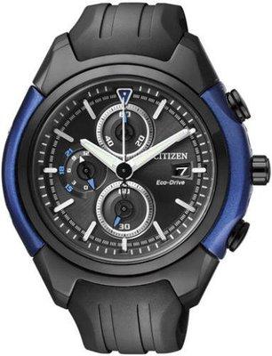 【金台鐘錶】全新 CITIZEN 光動能 造型計時表 三眼膠帶 CA0288-02E 藍黑 台北市