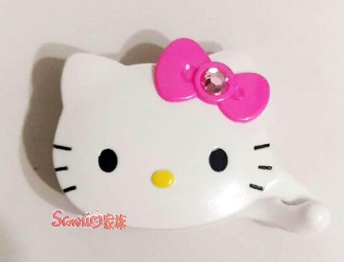 《東京家族》台灣製 HELLO KITTY 造型白色鑲鑽粉蝴蝶結髮夾髮飾相交夾 盒裝