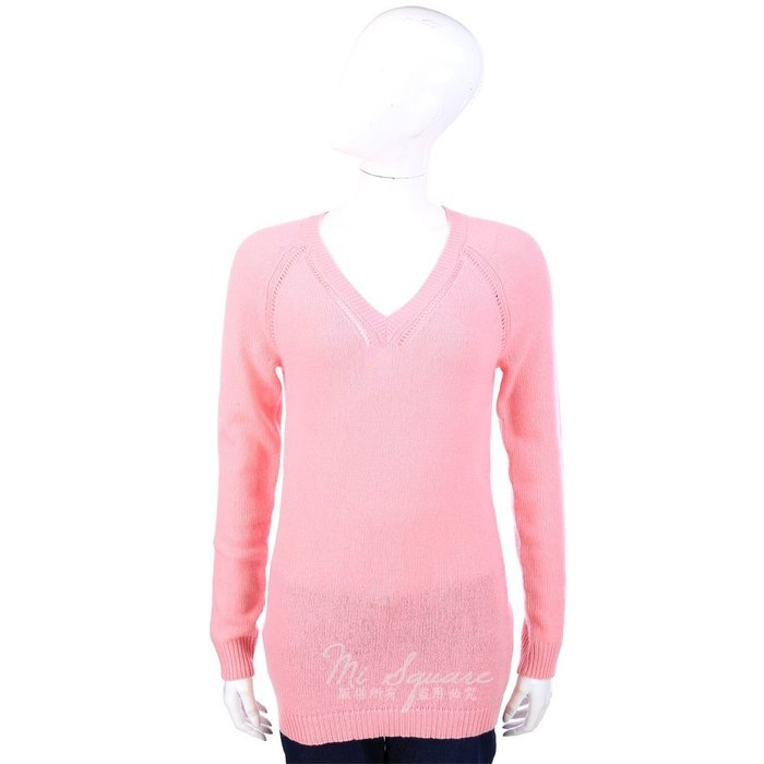 米蘭廣場 ALLUDE 100% CASHMERE 粉色V領長版長袖上衣 1340315-05