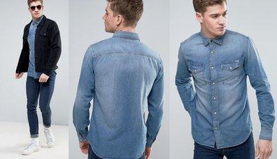 ◎美國代買◎ASOS代買藍刷色有蓋口袋裝飾經典百搭款牛仔丹寧襯衫上衣~歐美街風~大尺碼