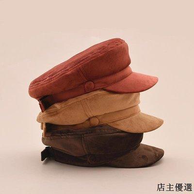 帽子女冬季時尚復古貝雷帽韓版簡約百搭天鵝絨八角帽文藝絲絨軍帽