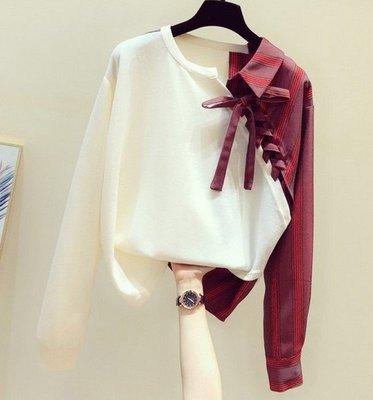 【An Ju Shop】韓國風 條紋拼接春秋款寬鬆假兩件襯衫不規則長袖休閒上衣~OI284018