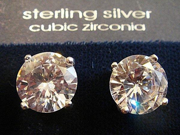 清倉大降價!全新美國 ICING 925純銀鑲方晶鋯石 Cubic Zirconia 圓型穿式耳環!低價起標無底價!免運