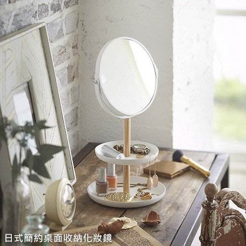 日式簡約桌面收納化妝鏡 鐵工藝首飾收納檯面鏡_☆優購好SoGood☆