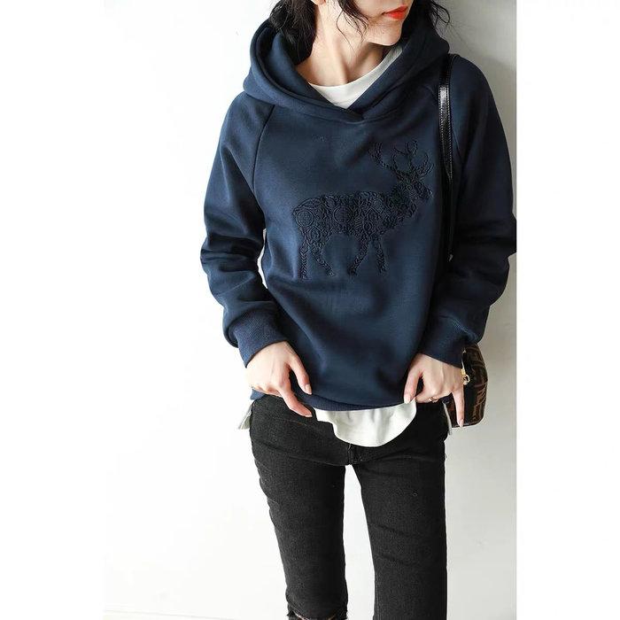冬季新款休閒時尚刺繡款舒適加絨保暖女衛衣連帽長袖T恤.NL Select Shop .