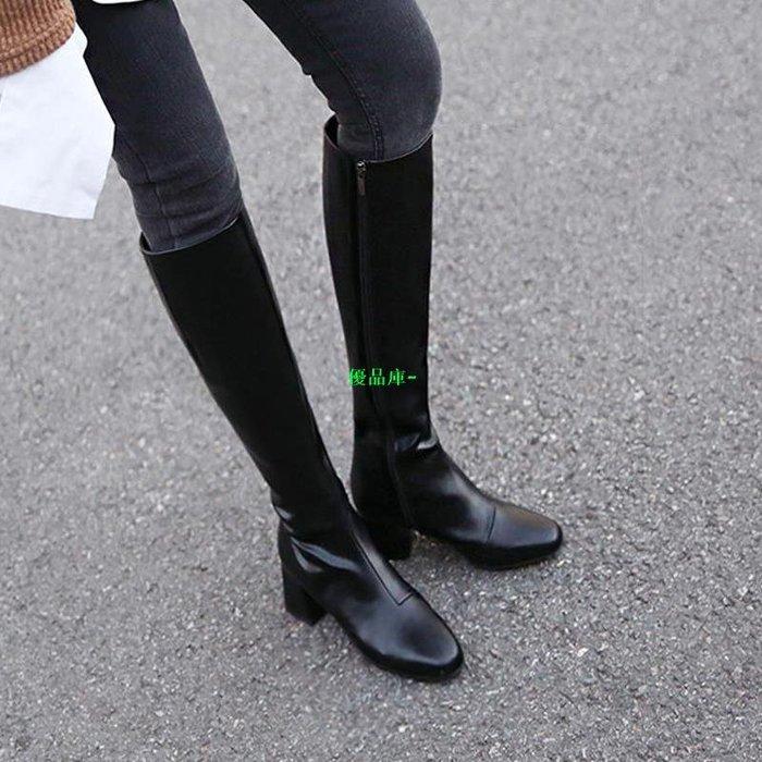 優品庫~馬靴女秋冬2019新款直筒長靴子圓頭長筒靴粗跟騎士靴高筒瘦瘦靴