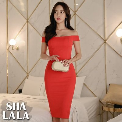 SHA LA LA 莎菈菈 韓版時尚性感露肩一字領修身收腰包臀連衣裙洋裝(S~XL)2019032218預購款