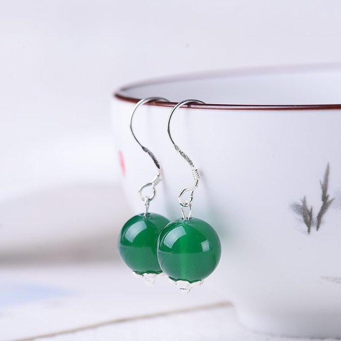Dream-新款潮流紅綠瑪瑙925銀耳釘純銀耳墜氣質簡約網紅防過敏耳飾禮物