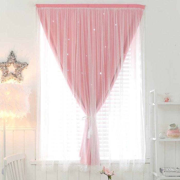 創意 居家裝飾 定制窗簾成品出租房魔術貼窗簾網紅遮光公主房粉色小短簾臥室客廳