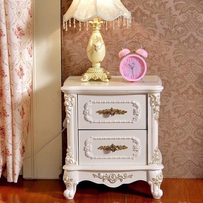 粉紅玫瑰精品屋~歐式玫瑰簡約描金象牙白色床頭櫃~