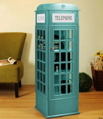 英倫風電話亭小書櫃植物櫃