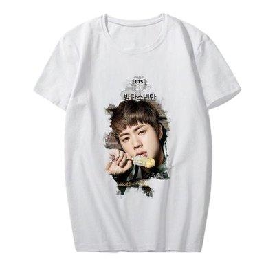 BTS防彈少年團JIN花樣年華新專輯LOGO周邊同款應援服短袖T桖