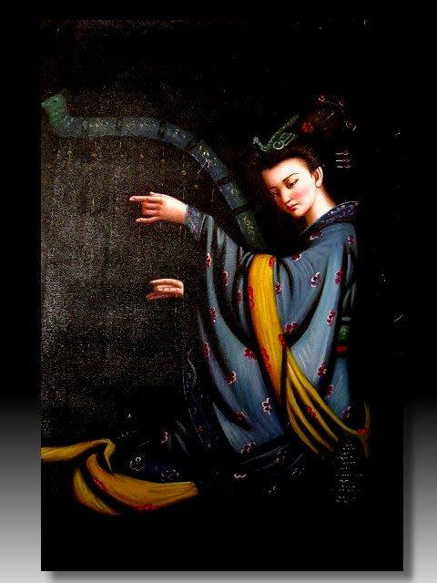 【 金王記拍寶網 】U1426  中國近代油畫家 曾浩款 手繪油畫一張 飛天系列 ~ 罕見系列作品 稀少 藝術無價~