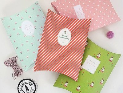 *YOOWOO*C特賣【韓國空運 Livework Gift Pack 條紋 小花 點點 風車 包裝禮物袋禮物盒~ 中】