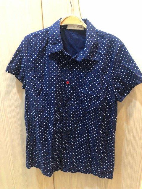 小花別針、專櫃品牌【dailo】點點藍色短袖襯衫