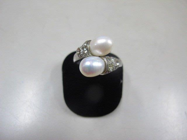 二手舖 NO.3977 天然珍珠 鑲鑽造型戒指 首飾飾品 全新