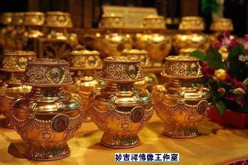 『皇家昌庫』蓮師財神如意總聚寶瓶 純銅貼金 秋竹仁波切親自修法 迅速獲得財神加持