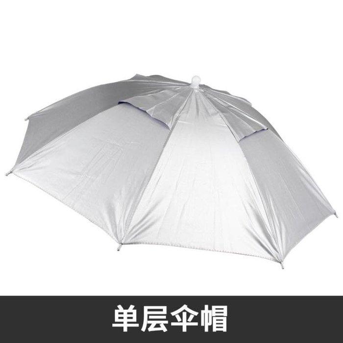 釣魚傘帽頭戴傘雨傘帽防曬折疊頭頂傘雙層大號戶外帽子傘