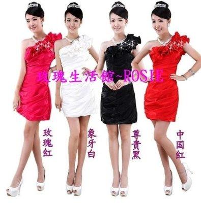 【玫瑰生活館】~ 斜肩玫瑰花皺摺短禮服,玫紅,白,黑,大紅 S~XL