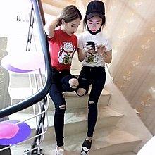 短袖社會女精神上衣紅人同款貓針織衫短袖潮流女生韓版衣服