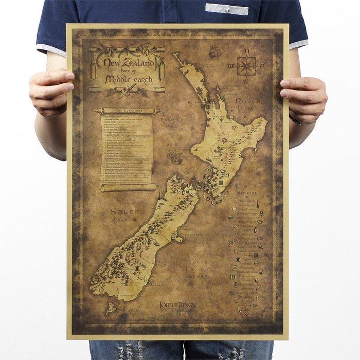 【貼貼屋】新西蘭地圖 神秘老地圖 懷舊復古 牛皮紙海報 壁貼 店面裝飾 經典電影海報 356