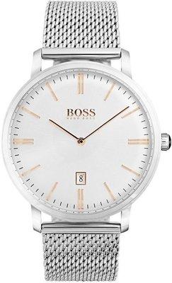 《Vovostore》Hugo Boss 1513481白底玫瑰金刻度不鏽鋼網狀鍊錶 *附購證、保証書*(4100含郵)