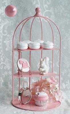 歐美進口 夢幻粉色三層托盤鳥籠造型甜點架 英式下午茶盤咖啡杯架蛋糕盤點心盤 多功能置物架圓形收納架擺件