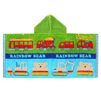 尼德斯Nydus~* 日本正版 彩虹熊 Rainbow Bear 浴巾 連帽 浴袍 披巾 玩具車100%純棉-日本製