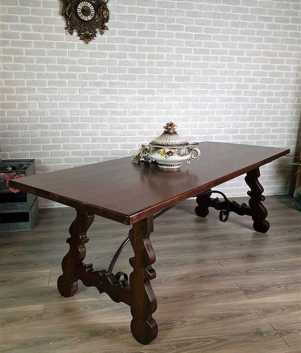 【卡卡頌 歐洲古董】西班牙老件 漂亮木紋 厚實老橡木  手工鍛鐵  長桌  餐桌  工作桌  t0210 ✬