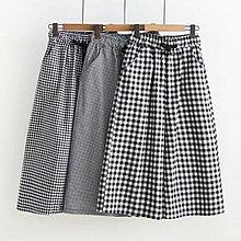 【29754】褲子 日系森女系格子繫帶休閒長褲☆*藍荳荳小舖*☆(現貨)