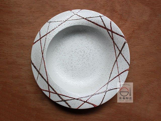 +佐和陶瓷餐具批發+【XL070917-1雪釉線紋9吋皿-日本製】日本製 義式盤 盤 圓皿 造型盤 營業餐具 餐盤