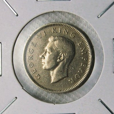 紐西蘭 (NEW ZEALAND) 1947年 喬治六世 SIX PENCE 鎳幣 XF+【A1040】