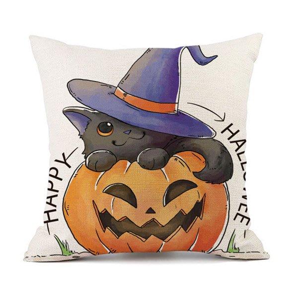 二代嚴選萬聖節系列白底黑貓幽靈棉麻抱枕腰枕套 枕頭套【HW0165】《Jami Honey》